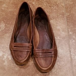 Zara brown flat leather loafers size 36